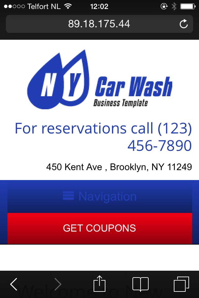mobile phone screenshot Car Wash WordPress Theme
