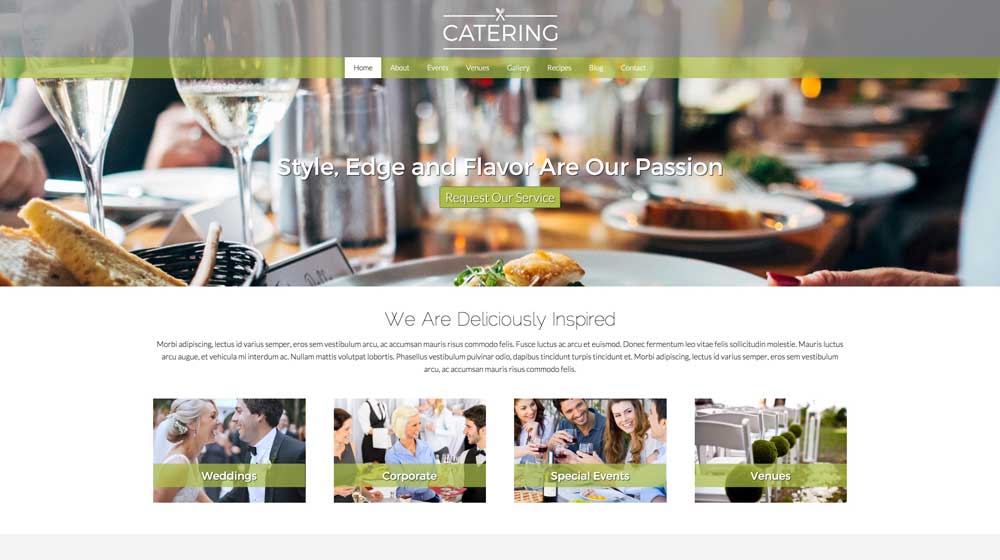 desktop screenshot Catering WordPress Theme