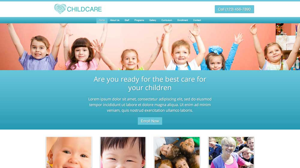 desktop screenshot Child Care WordPress Theme