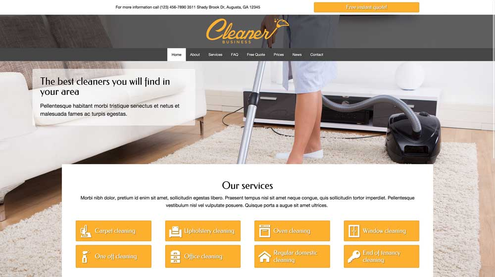desktop screenshot Cleaner Business WordPress Theme