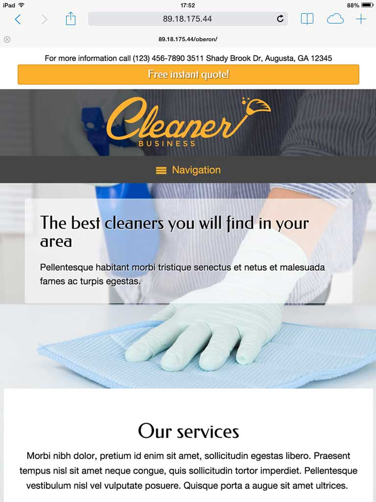 tablet screenshot Cleaner Business WordPress Theme