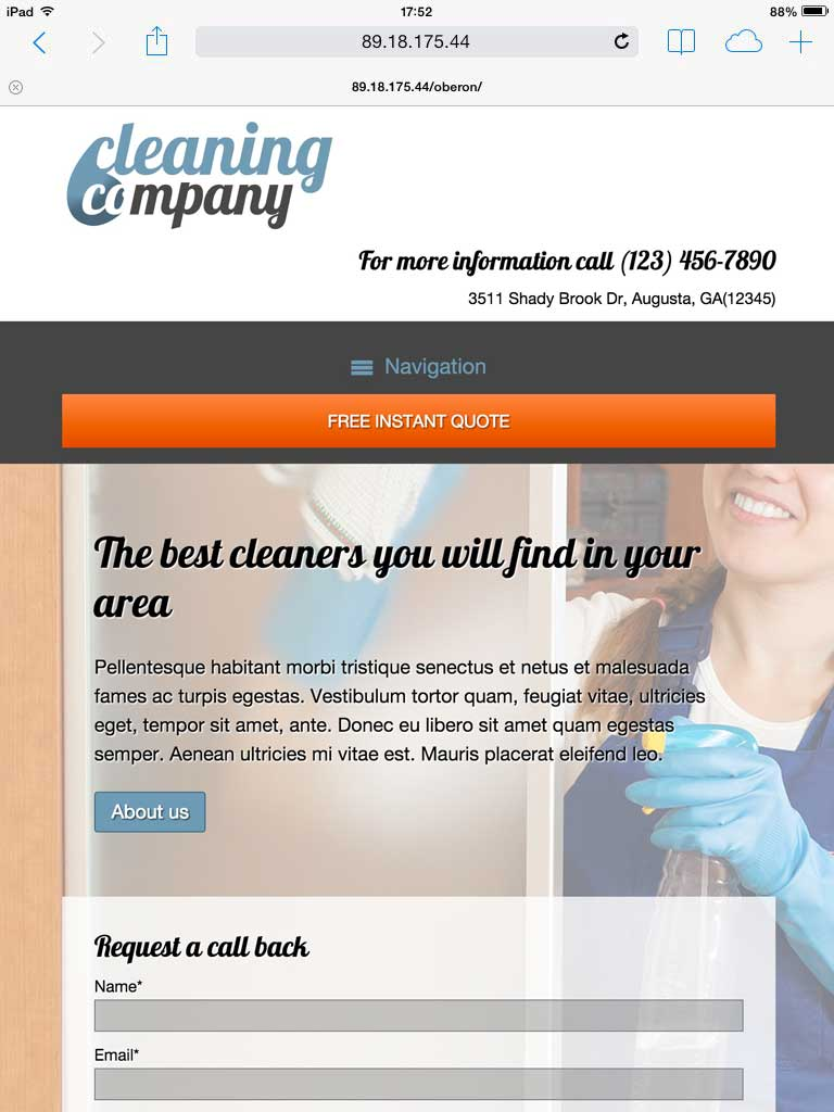 tablet screenshot Cleaning Company WordPress Theme