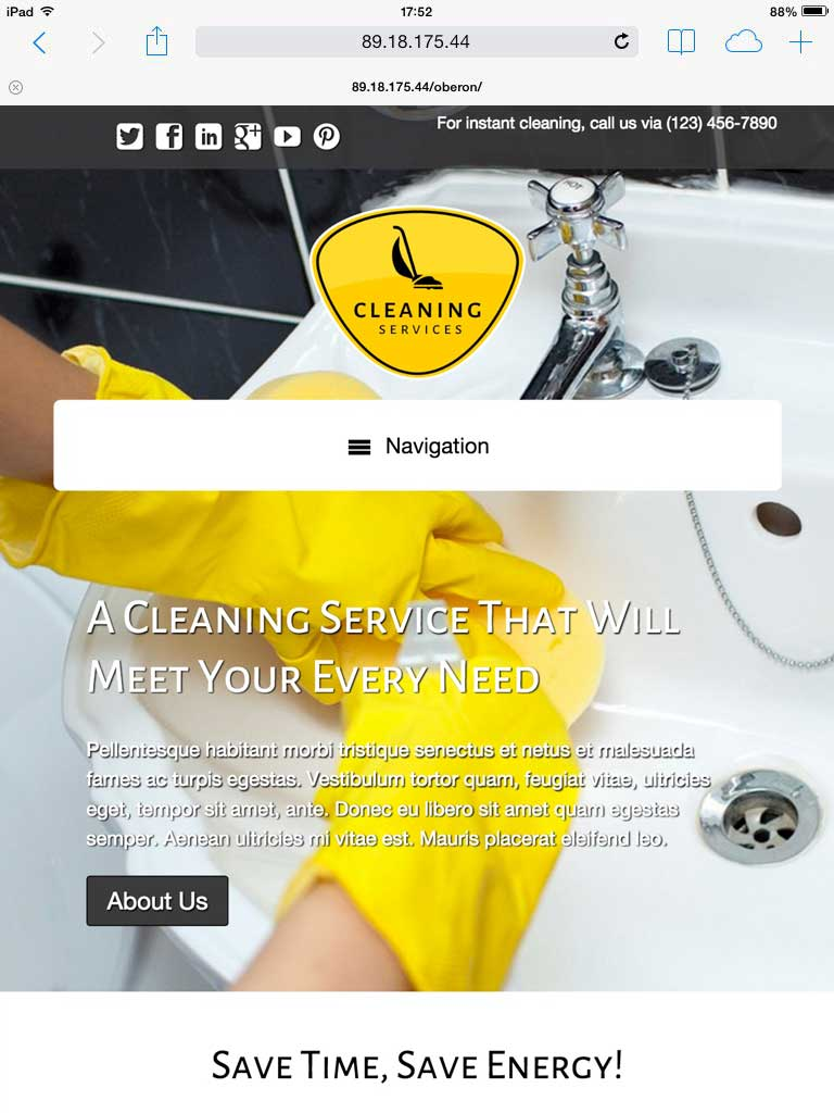 tablet screenshot Cleaning Services WordPress Theme