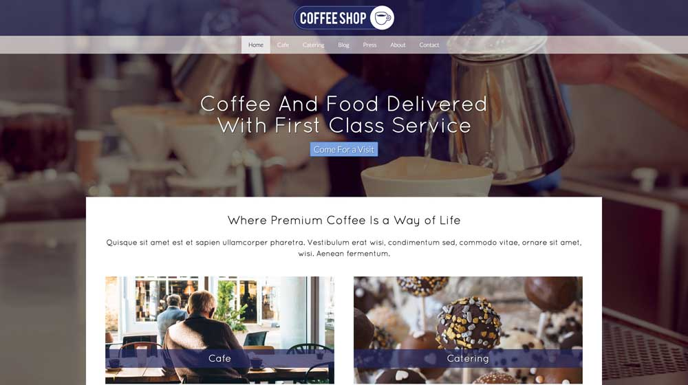 desktop screenshot Cafe WordPress Theme