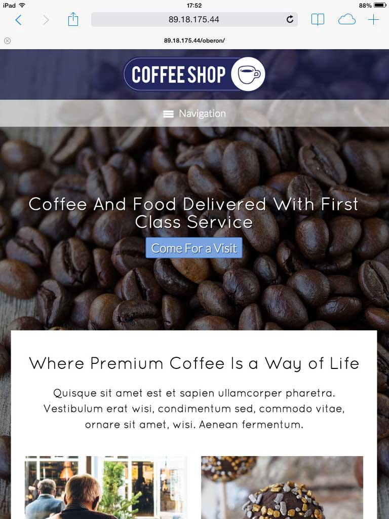 tablet screenshot Cafe WordPress Theme