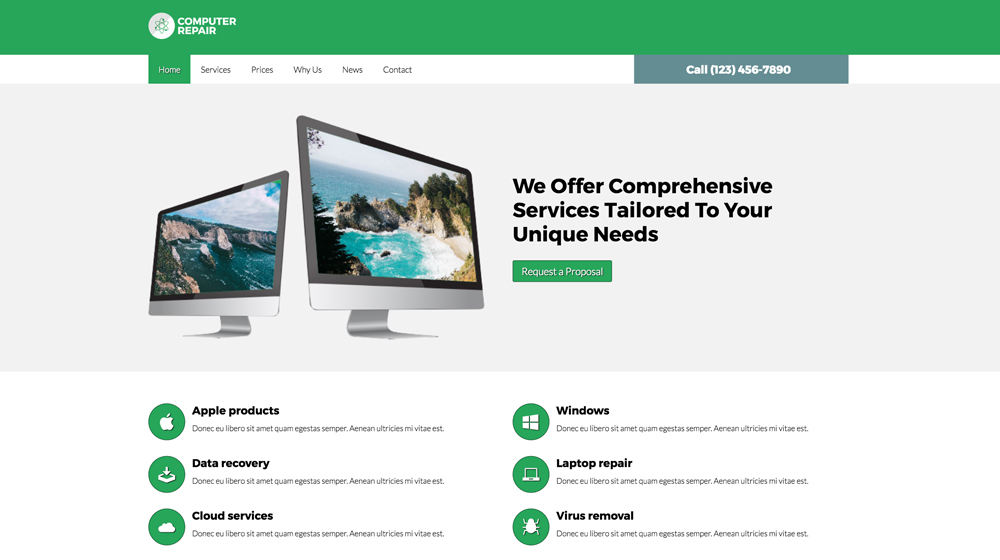 desktop screenshot Computer Repair WordPress Theme