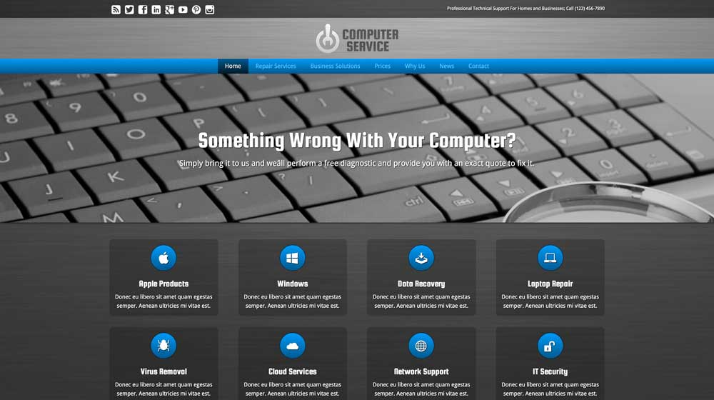 desktop screenshot Computer Service WordPress Theme