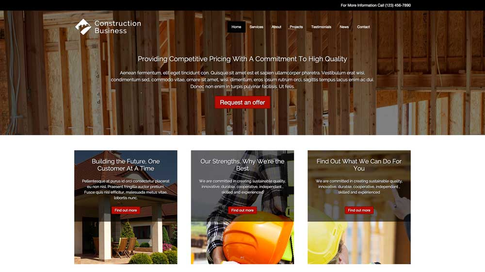 desktop screenshot Construction Business WordPress Theme