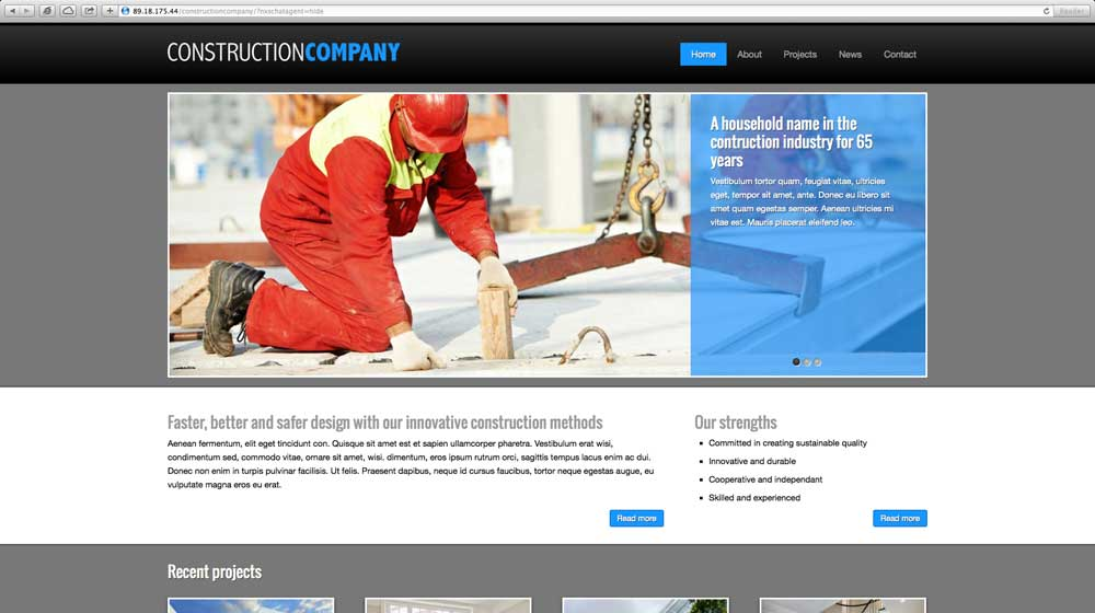 desktop screenshot Construction Company WordPress Theme