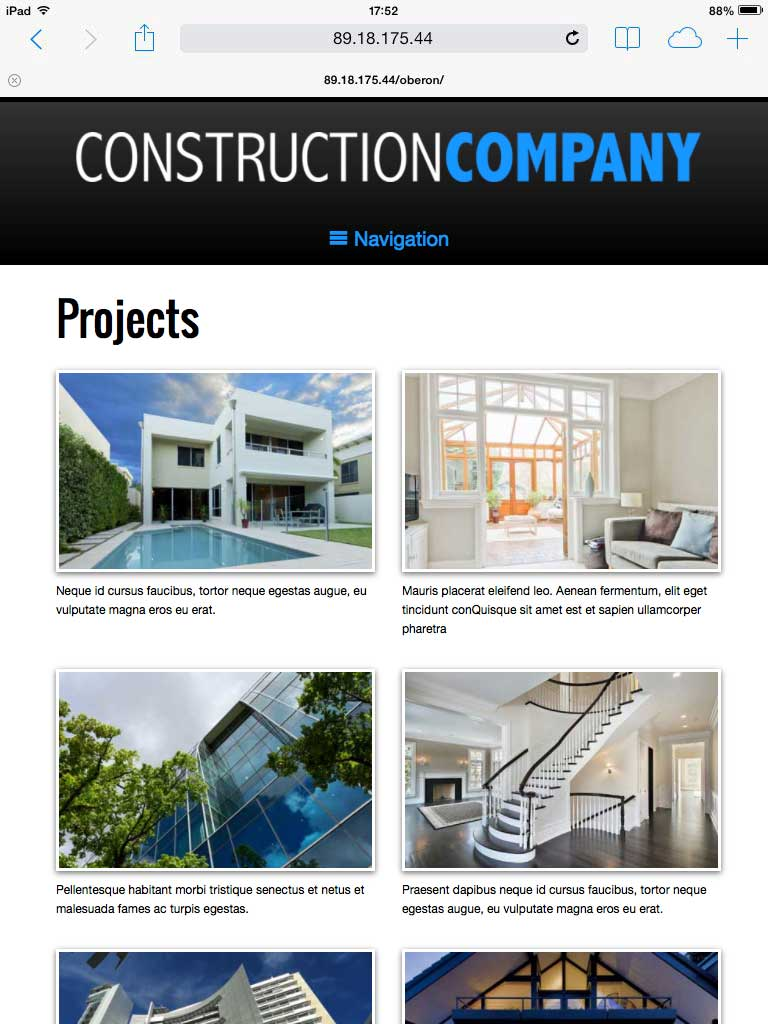 tablet screenshot Construction Company WordPress Theme