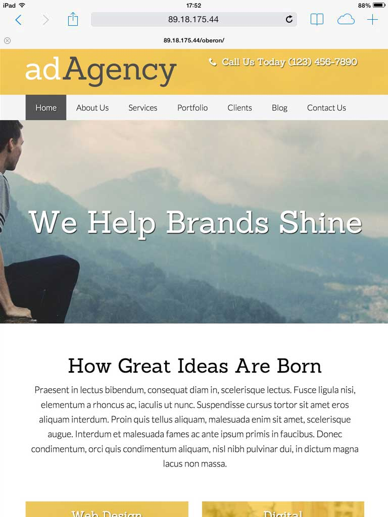 tablet screenshot Creative Agency WordPress Theme