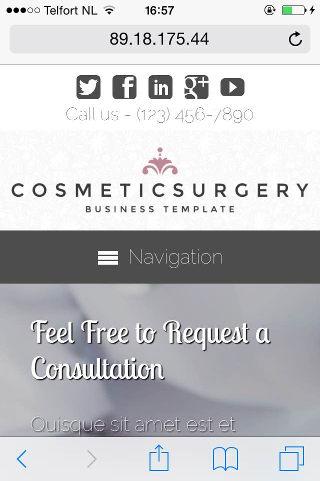 mobile phone screenshot Cosmetic Surgery WordPress Theme