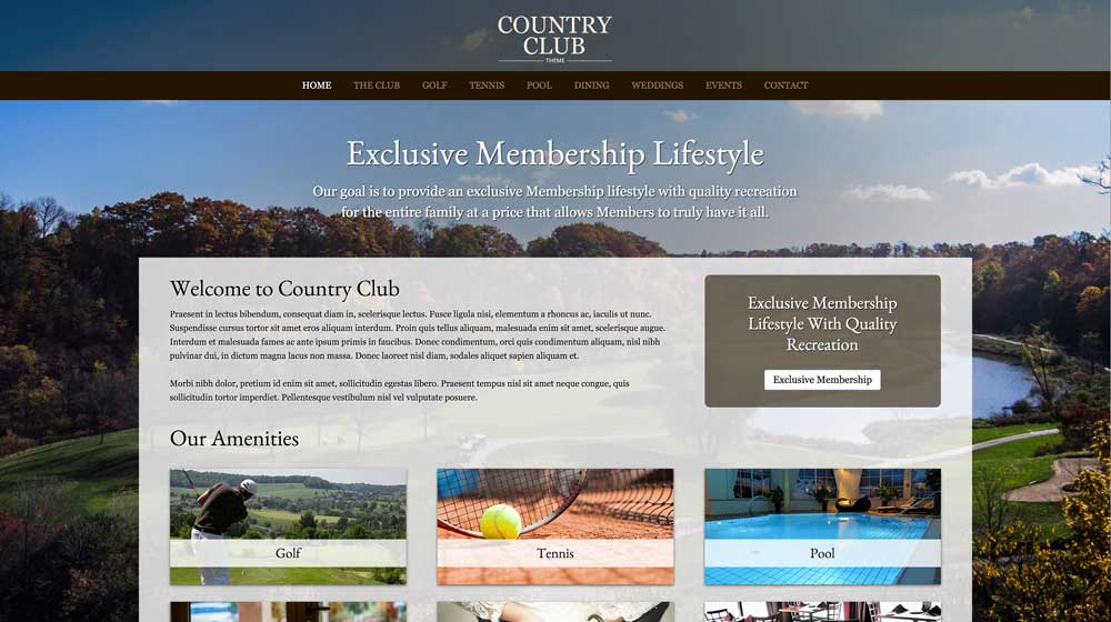 desktop screenshot Country Club WordPress Theme