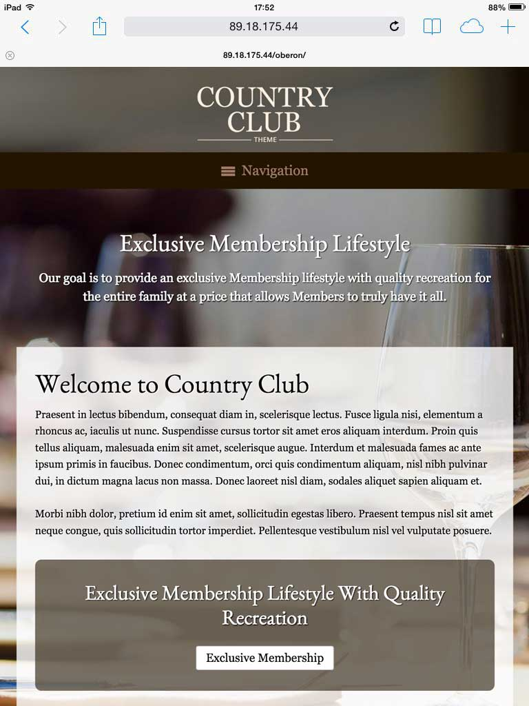 tablet screenshot Country Club WordPress Theme