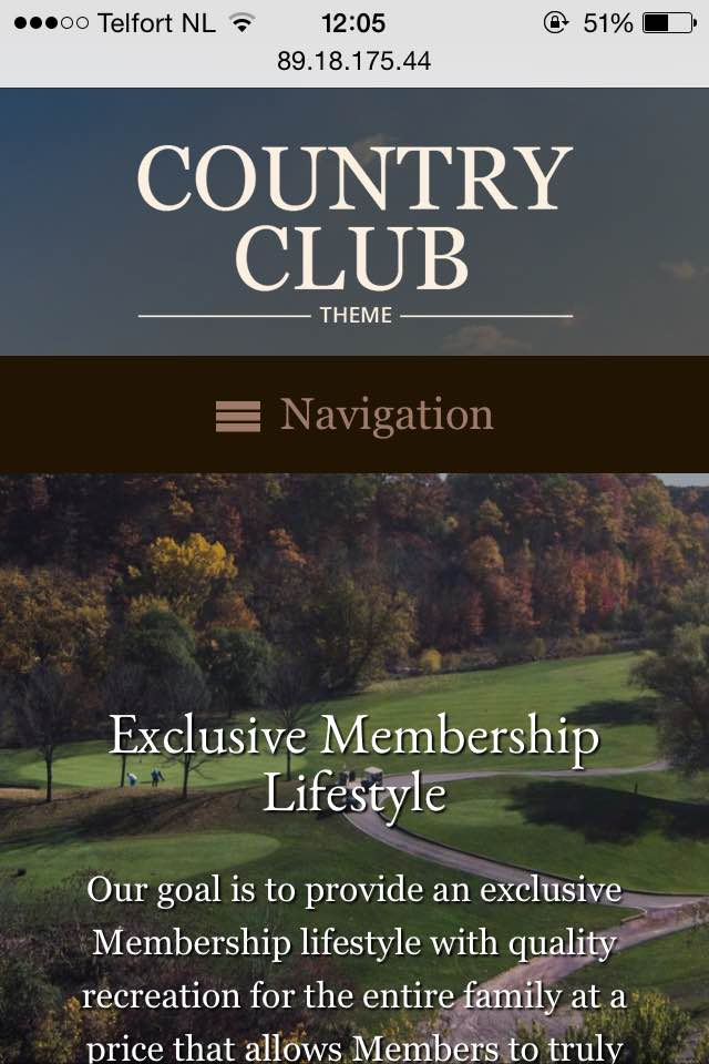 mobile phone screenshot Country Club WordPress Theme