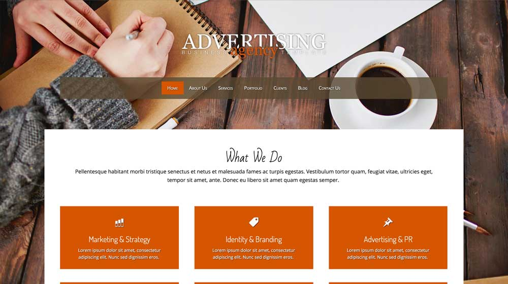 desktop screenshot Advertising Agency WordPress Theme