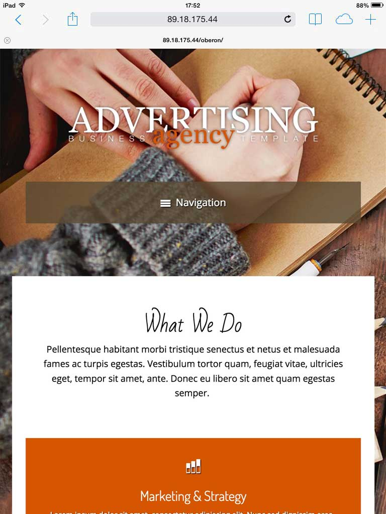 tablet screenshot Advertising Agency WordPress Theme