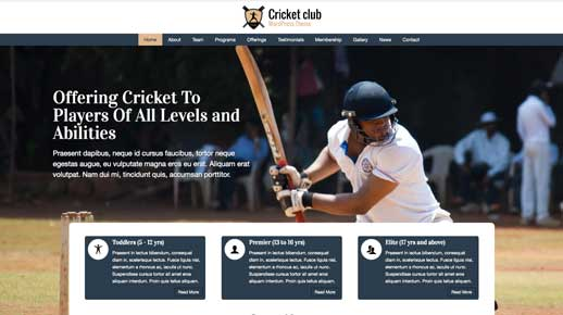 desktop screenshot Cricket Club WordPress Theme