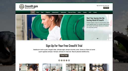 desktop screenshot CrossFit WordPress Theme