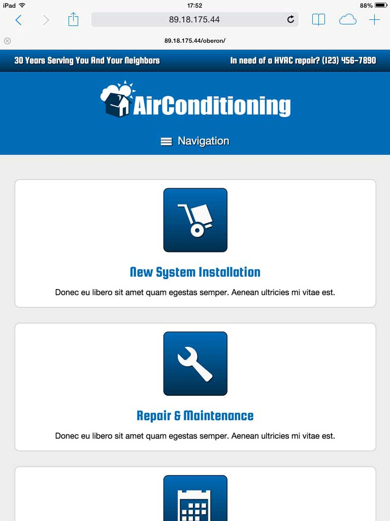 tablet screenshot Air Conditioning WordPress Theme