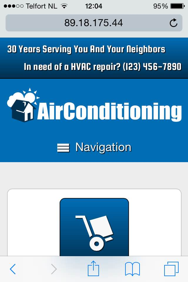 mobile phone screenshot Air Conditioning WordPress Theme