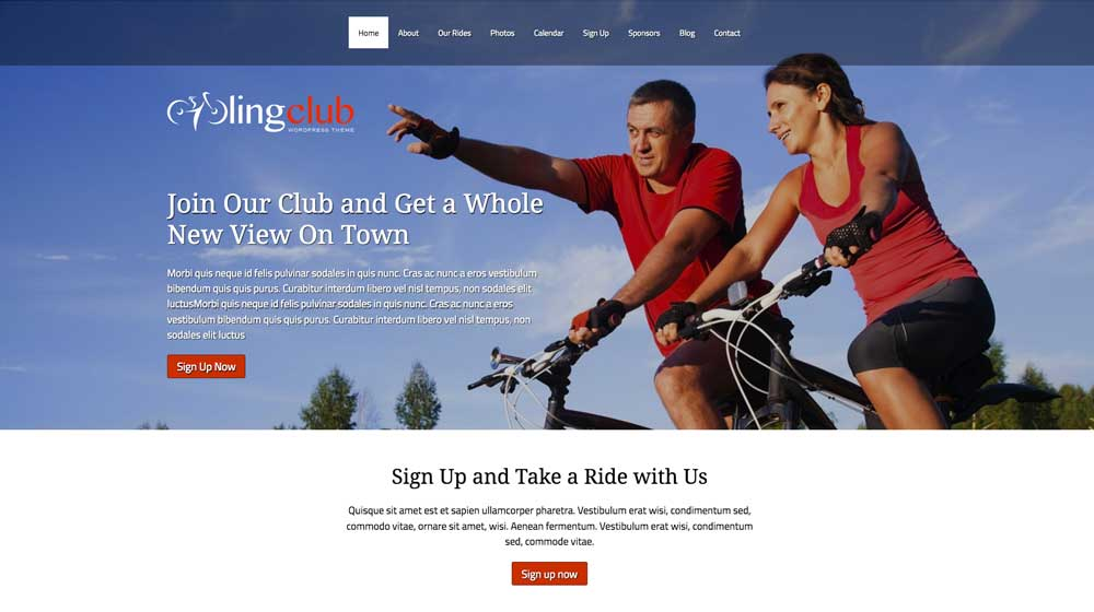 desktop screenshot Cycling Club WordPress Theme