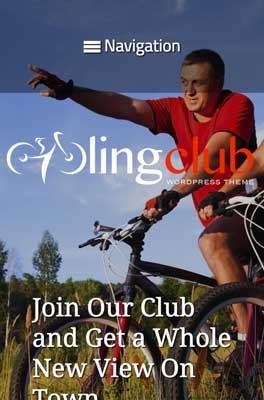 mobile phone screenshot Cycling Club WordPress Theme