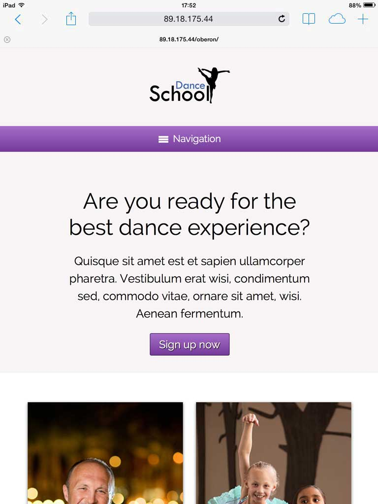 tablet screenshot Dance School WordPress Theme