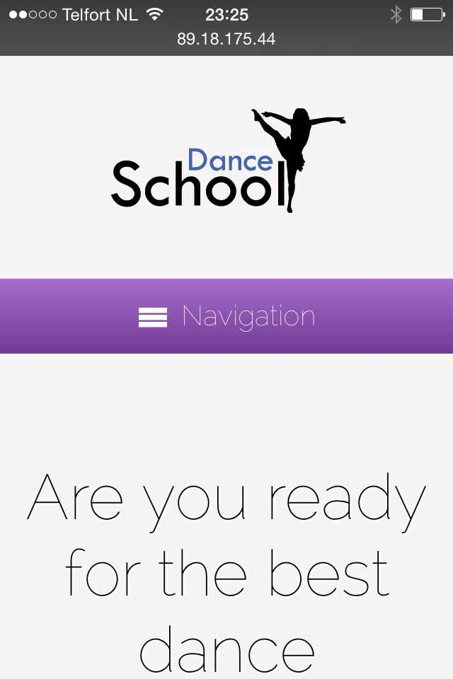 mobile phone screenshot Dance School WordPress Theme