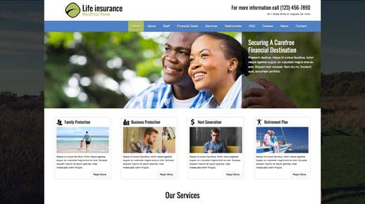 desktop screenshot Life Insurance WordPress Theme