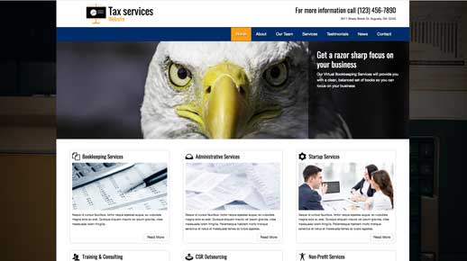 desktop screenshot Tax Services WordPress Theme