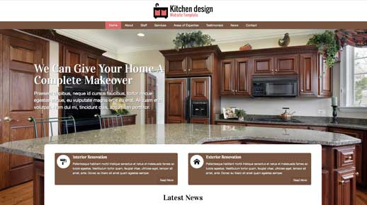 desktop screenshot Kitchen Design WordPress Theme