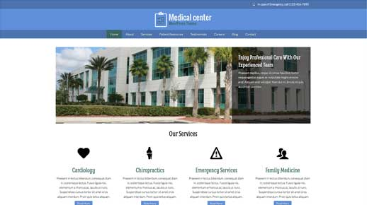 desktop screenshot Medical Center WordPress Theme