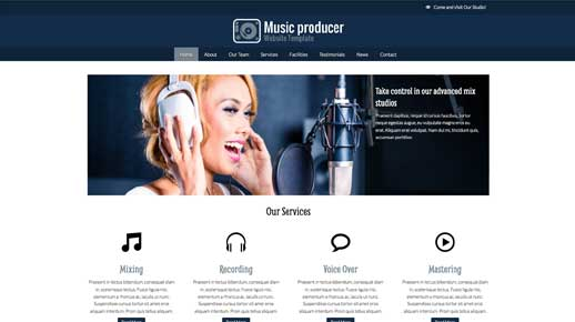 desktop screenshot Music Producer WordPress Theme