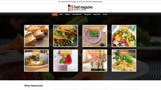 desktop screenshot Food Magazine WordPress Theme