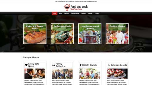 desktop screenshot Food And Cook WordPress Theme