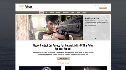 desktop screenshot Actress WordPress Theme