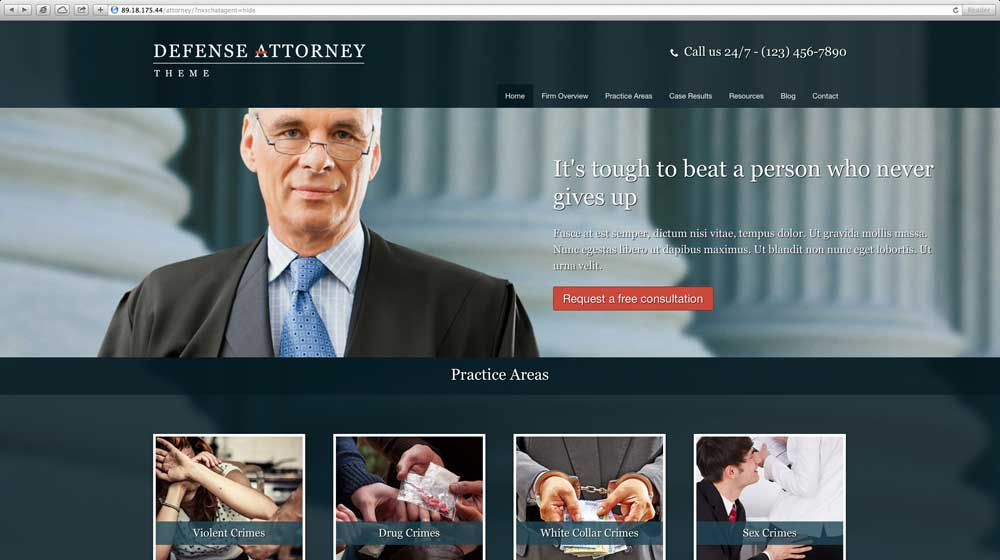 desktop screenshot Defense Attorney WordPress Theme