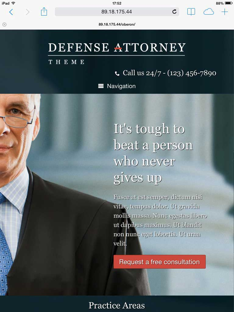 tablet screenshot Defense Attorney WordPress Theme
