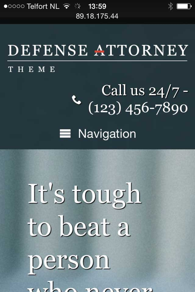 mobile phone screenshot Defense Attorney WordPress Theme