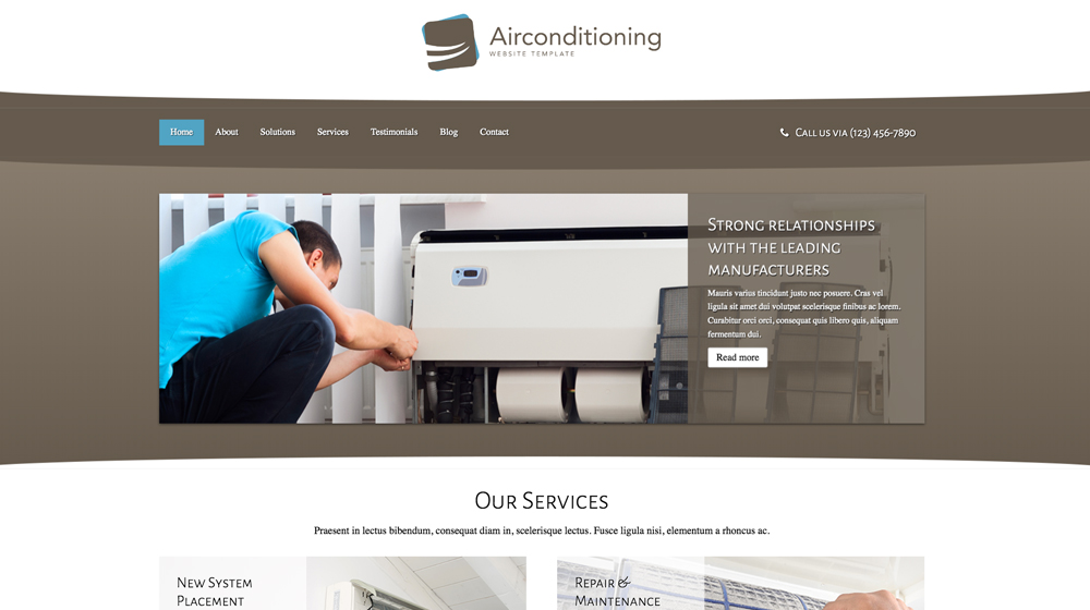 desktop screenshot AC Repair WordPress Theme