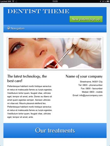 tablet screenshot Dentist WordPress Theme