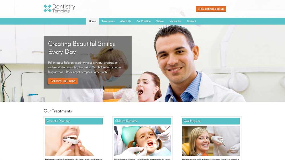 desktop screenshot Dentistry WordPress Theme