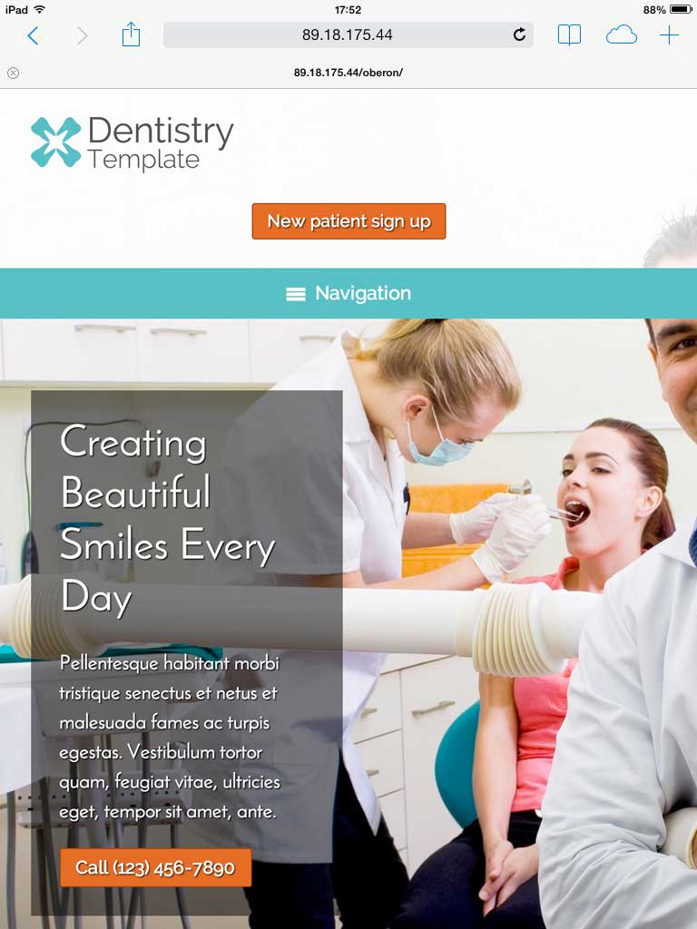 tablet screenshot Dentistry WordPress Theme