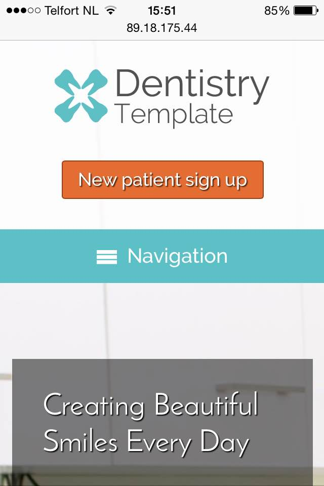 mobile phone screenshot Dentistry WordPress Theme