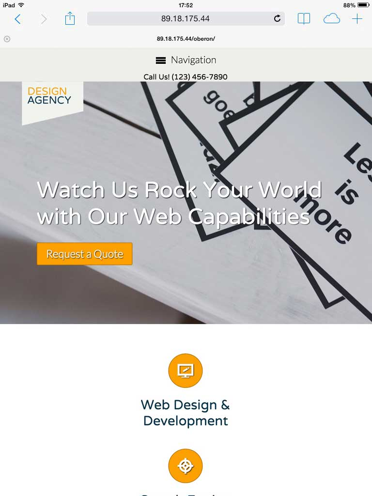 tablet screenshot Design Agency WordPress Theme