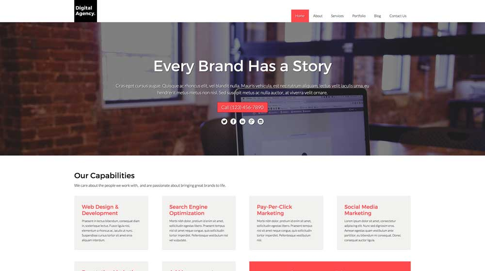 desktop screenshot Digital Agency WordPress Theme