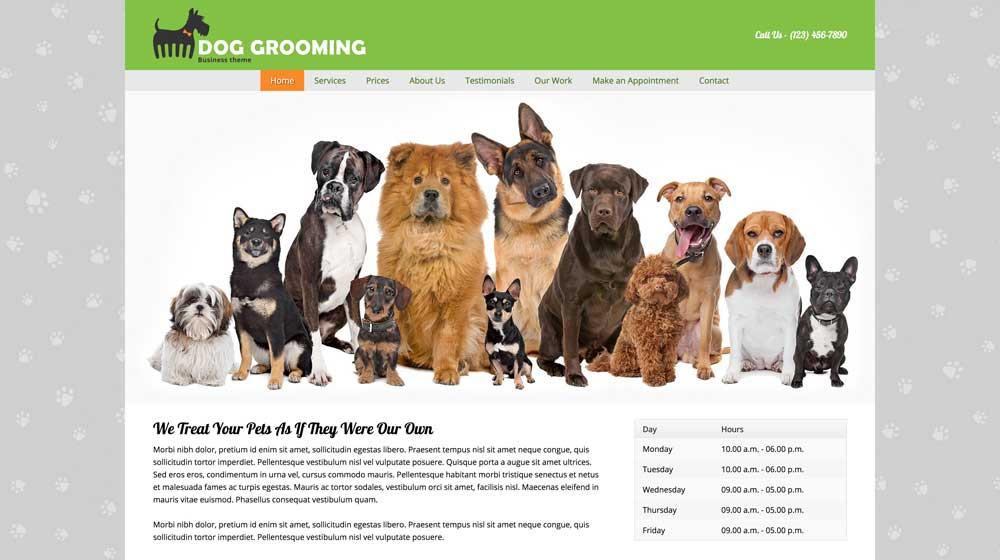 desktop screenshot Dog Grooming WordPress Theme