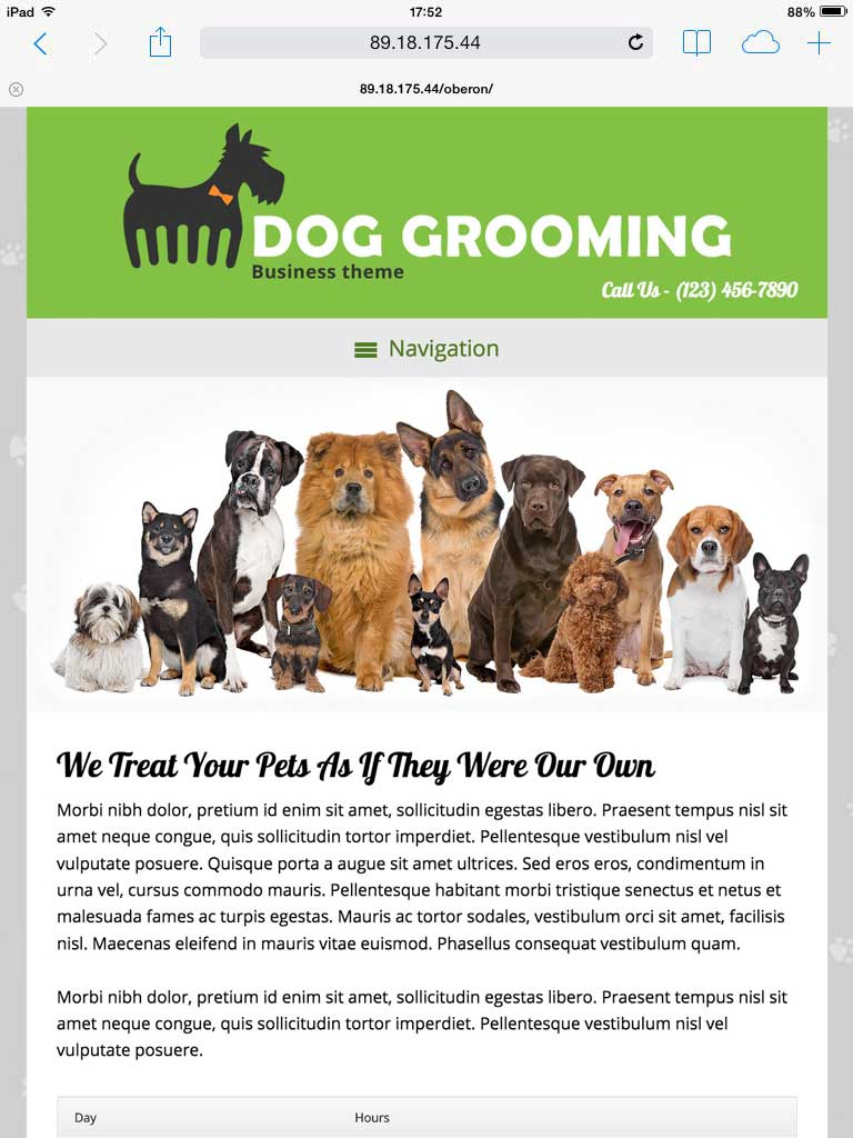 tablet screenshot Dog Grooming WordPress Theme