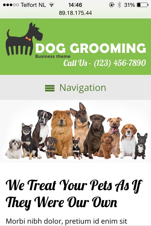 mobile phone screenshot Dog Grooming WordPress Theme